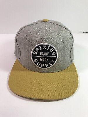 Brixton Supply Trade Mark Hat Gray Yellow Adjustable Snapback Embroidered Logo