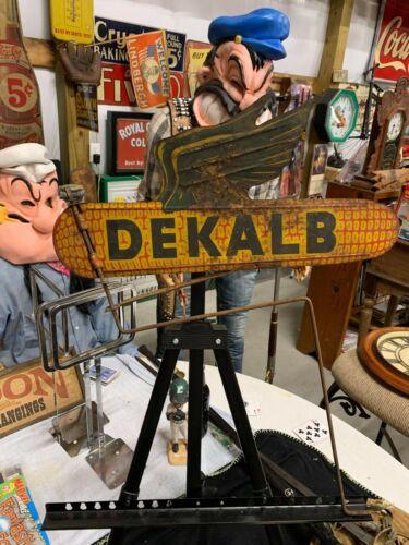 Vintage Metal Dekalb Flying Ear Spinner Wind Vane Sign GAS OIL FARM SEED FEED