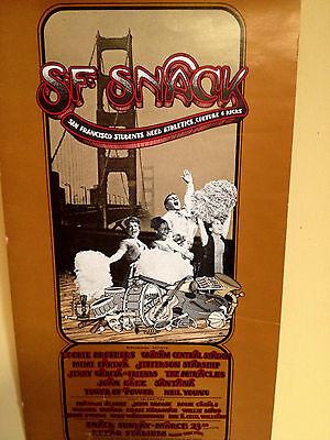 RARE ORIGINAL 1975 POSTER-DOOBIES/STARSHIP/GARCIA/N. YOUNG/BAEZ+ SF SNACK EVENT