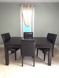 Dark Brown Wood Dining Table and 6 Chairs