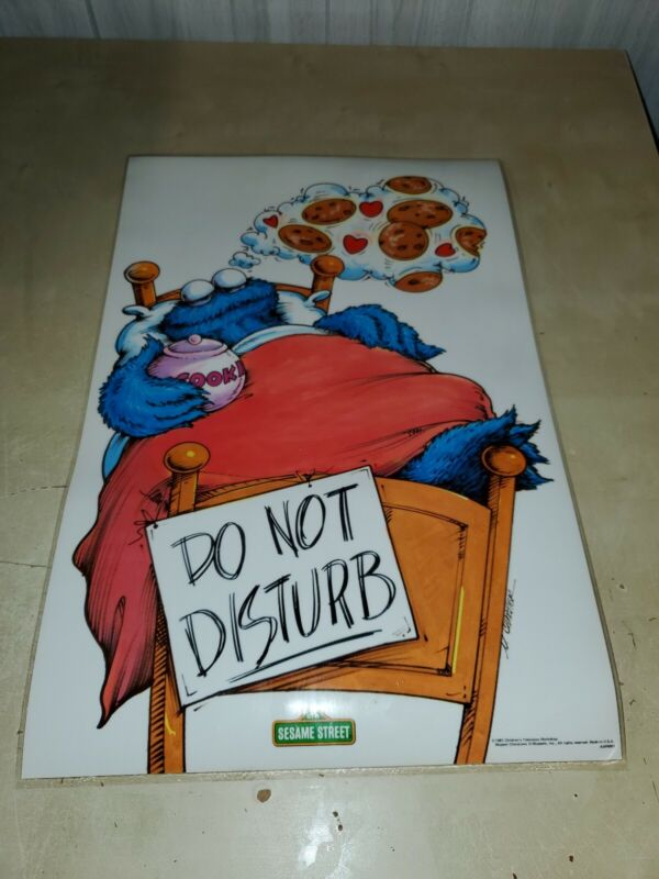 Sesame Street Cookie Monster do not disturb Laminated Poster Vintage