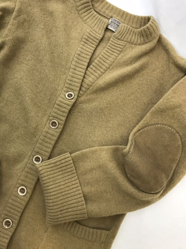 Vtg Womens Small Merino Wool Cardigan Sweater Elbow Patch, Buttons, Camel Tan