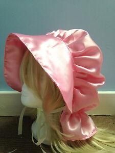 victorian edwardian adult baby fancy dress pink satin bonnet cap hat sissy maid