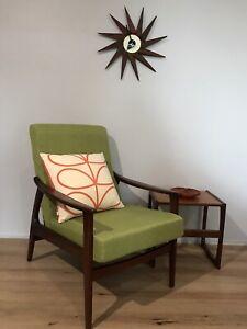 Refurbished mid century retro vintage armchair