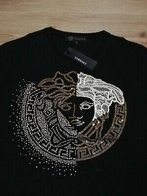 Medusa Crystal Embroidered Men Black T-Shirt