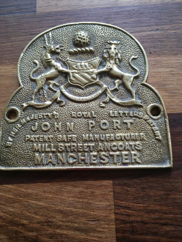 Original Old VIctorian Cast Brass Safe Plaque JOHN PORT MANCHESTER