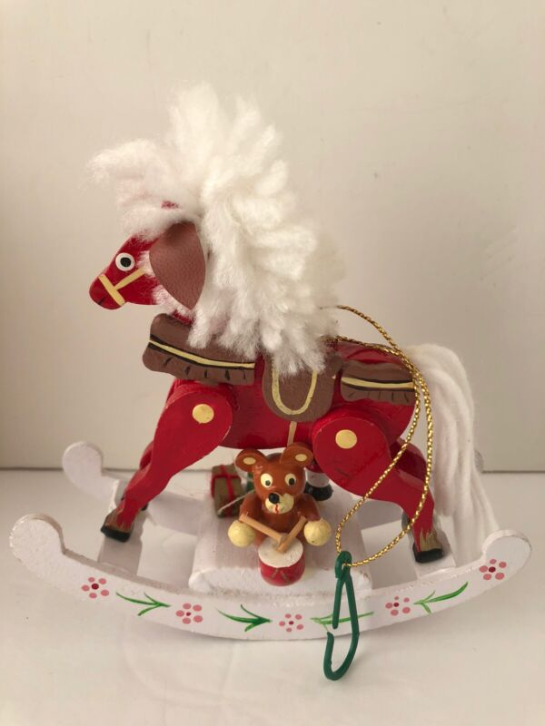 """Gifts Musical Christmas Rocking Horse 10"""" Ornament"""