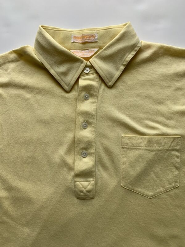 Vintage 1960s Brooks Brothers Single Stitch USA Pima Cotton Lisle Polo Shirt L