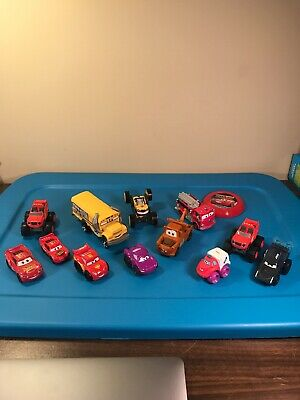 Disney Pixar Cars Movie Vehicles Lot of 12 Different Characters Plus Frisbee