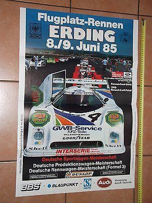 Poster 1985 Flugplatzrennen Erding Interserie Can Am Zakspeed Ford C100 DTM F3