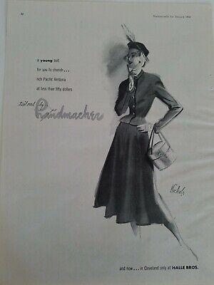 1948 women's Handmacher young suit Nichols fashion illustration art vintage ad