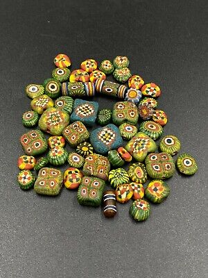 Ancient Mosaic Beads|Old Mosaic Glass Beads For D.I.Y Vintage Coral Tube Mosaic Roman Glass Beaded Necklace|Roman Glass
