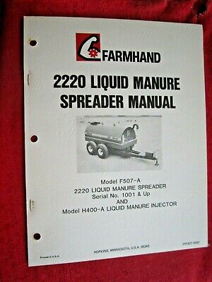 Farmhand 2220 Liquid Manure Spreader Operators Maintenance Parts Manual