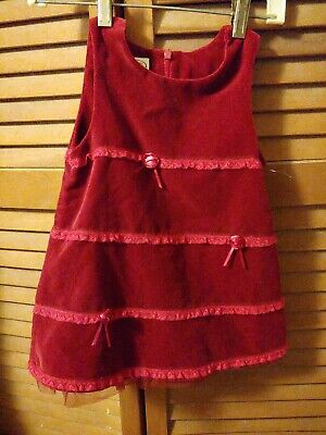 Girl 18 Month red velour (lined) jumper Top & Pull On Pants new w/o tags (XMAS)
