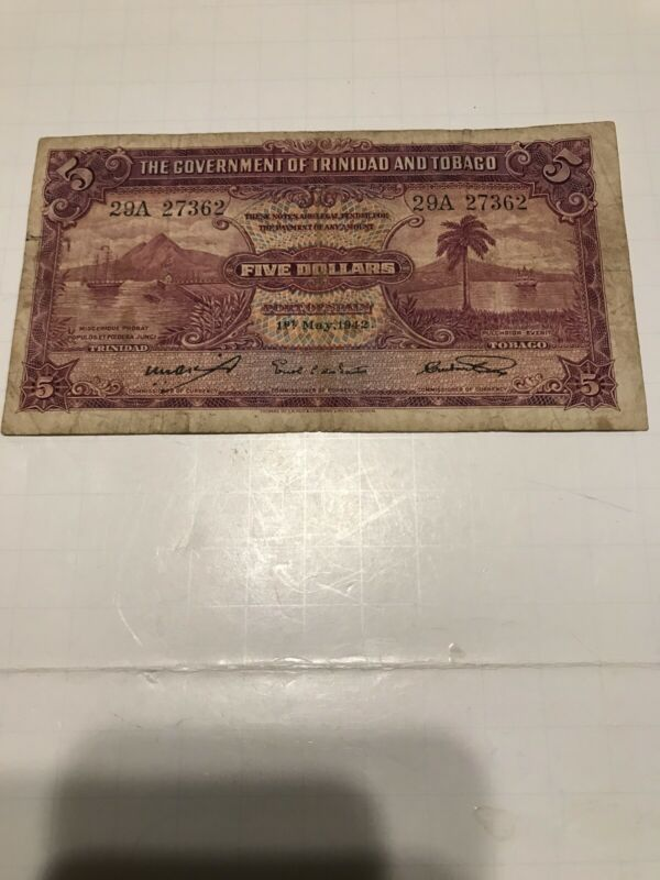 Trinidad And Tobago 1942 Five Dollars  Bank Note - RARE