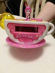 girlpower pink,yellow, white radio am/fm alarm clock with nightlight