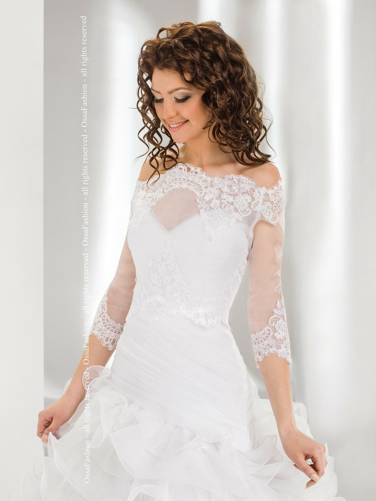 New Womens Bridal Ivory White Lace Over-top Bolero Shrug ...