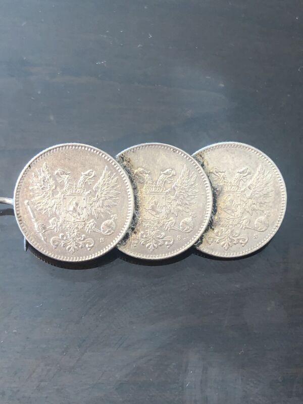 Finland NGC Russian Empire 1917 MS 65 50 Pennia Silver Rare 3 Coins Brosch