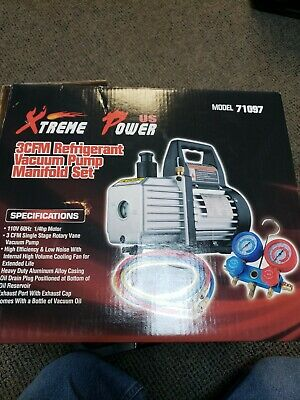 3CFM Vacuum Pump HVAC Refrigeration AC Manifold Gauge Leak Detector HeavyDuty