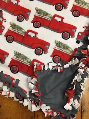 Handmade FLEECE TIE-BLANKET Nostalgic Christmas Truck Tree Dog 58X72 2 layers