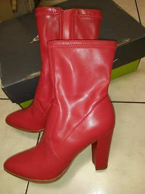 Red Leather High Heel Boot - New Dolce Vita red ankle boot, inner side zip, high heel,  man made leather