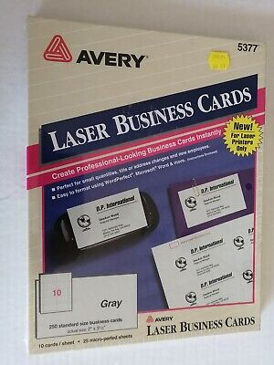 Avery Laser Business Cards 5377 Gray