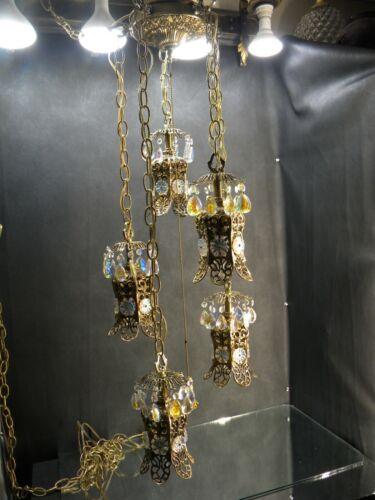 Vintage Hollywood Regency Gold Gilt 5 Tiered Lamp Swag Chandelier