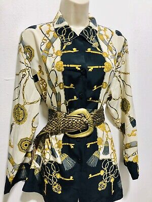 Ivory Black Gold Versace Style Print Shirt Blouse Size 14