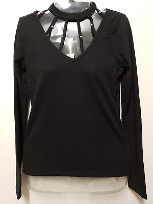 Blk Neck - bebe Long-Sleeve High-neck Top Stud Cut-out Studded Shirt Black Size S L XL  R12