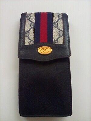 Vintage Gucci GG Monogram Navy Blue Leather & Canvas Eyeglass Case