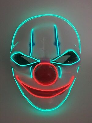 EL WIRE SCARY HALLOWEEN MASK LED COSTUME RAVE COSPLAY - KILLER CLOWN - IT RED - It Clown Halloween Mask