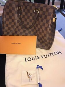 Authentic Louis Vuitton Speedy 30 Damier Ebene Canvas Handbag