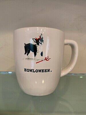 Boston Terrier In Halloween Costumes (Rae Dunn Halloween Howloween Boston Terrier Dog in Costume Mug in White HTF)