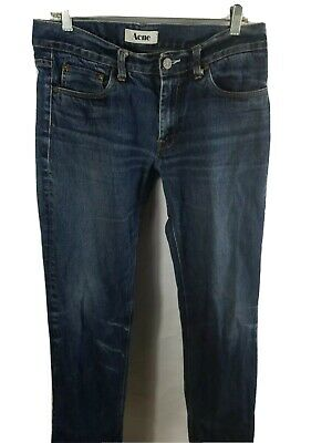 Acne Mid Rigid Blue Designer Mens Jeans Sz 32x32