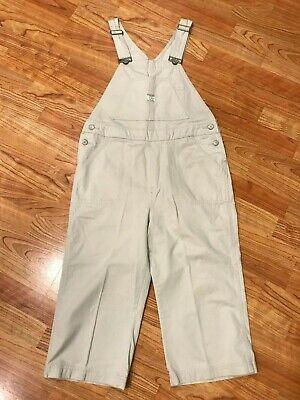 VTG UNION BAY Bib Overalls Women's Wide Leg Capri Medium Khaki 100% Cotton (Capri Cotton Bib)