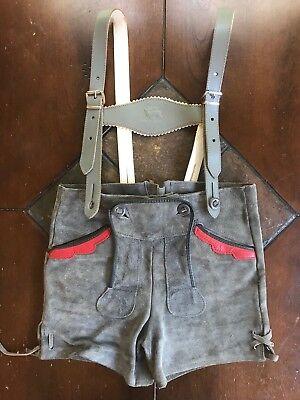 Vintage Leather German Lederhosen Deer Motif Suspenders Boys Octoberfest Outfit - October Fest Outfit