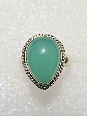 Chunky Natural Chalcedony Stone Ring 925 Solid Sterling Silver 925 Size S1/2~T
