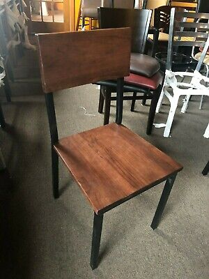 Restaurant Metal Wood Chairs In Mahogany Walnut Natural Color