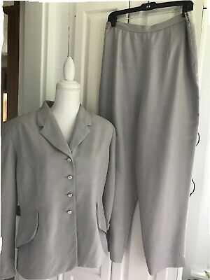 Pre-Owned Women's Jones New York Light Gray Silk Pant Suit Sz:14