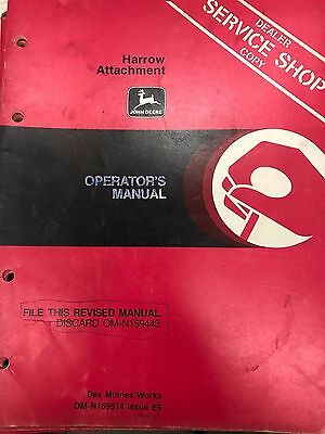 John Deere Operators Manual Harrow Attachment Omn159514 Used