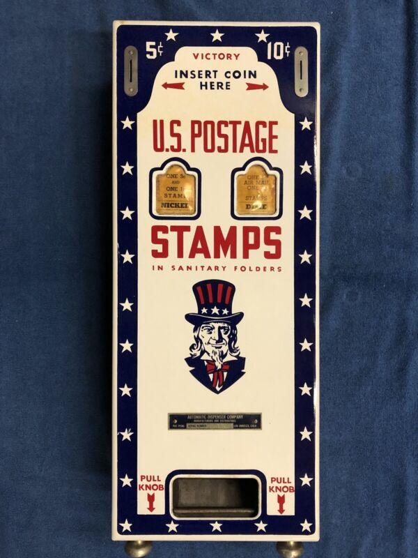 UNCLE SAM c1940 VICTORY 5&10c. PORCELAIN Front U.S. Postage STAMP Machine No Key
