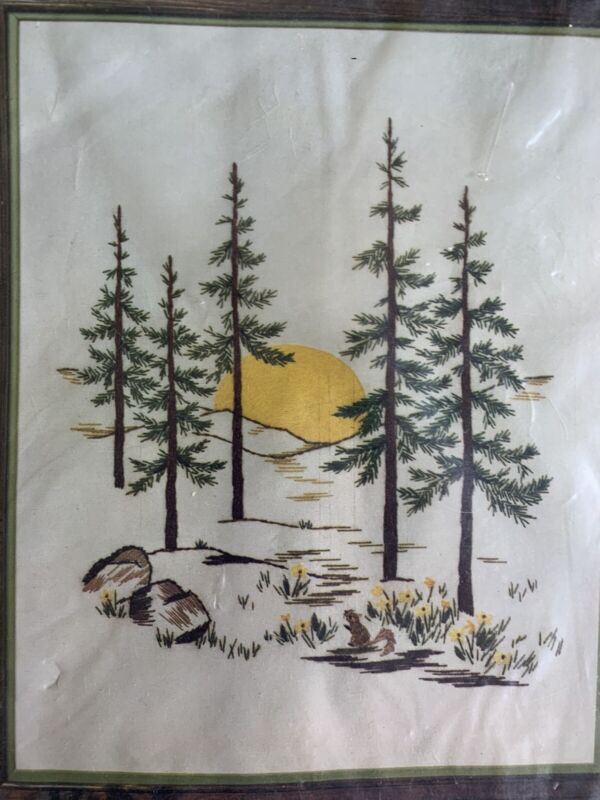 Yellow Moon and Pine Trees Vintage Crewel Embroidery Kit Spinnerin NIP 16x20