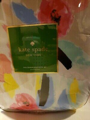 KATE SPADE PAINTBALL FLORAL PINK Blue Aqua Full QUEEN COMFORTER Sham SET 3PC Kate Comforter Set