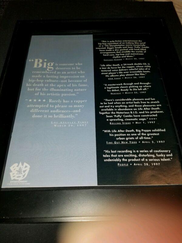 Notorious B.I.G. Rare Original Life After Death Promo Poster Ad Framed!