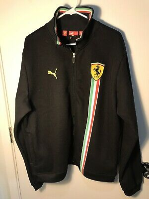 Men's XL Puma Scuderia Ferrari Official Full Zip-Black Jacket Fleece Lined RARE