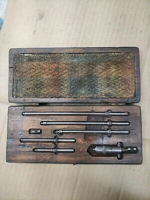 Vintage Starrett 124-b Inside Micrometer With Wooden Box