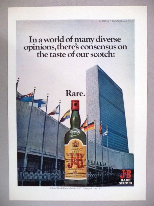 J & B Scotch Whiskey PRINT AD - 1977 ~~ United Nations Building, New York