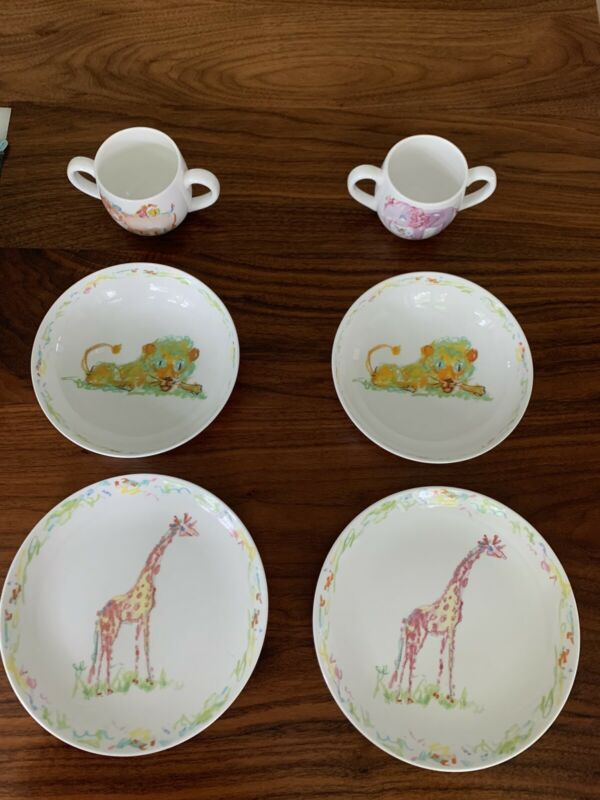 Tiffany Jungle Theme Child's Three Piece Bone China Dish Set (price Per Set)