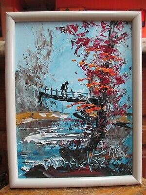 Famous Landscape Oil Paintings (World Famous Morris Katz Fall Landscape Oil Painting w/ Woman )
