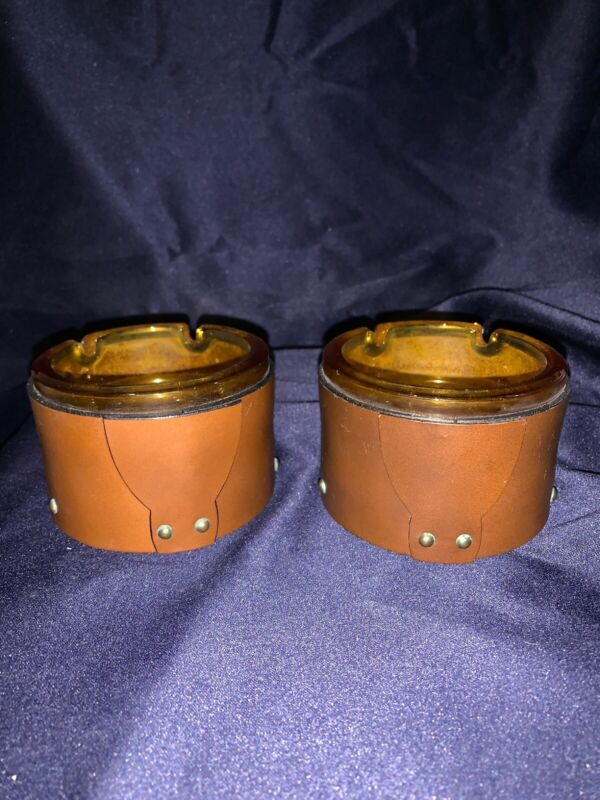 2 United States Jaycees Ashtray Glass Leather Wood Brown Studded
